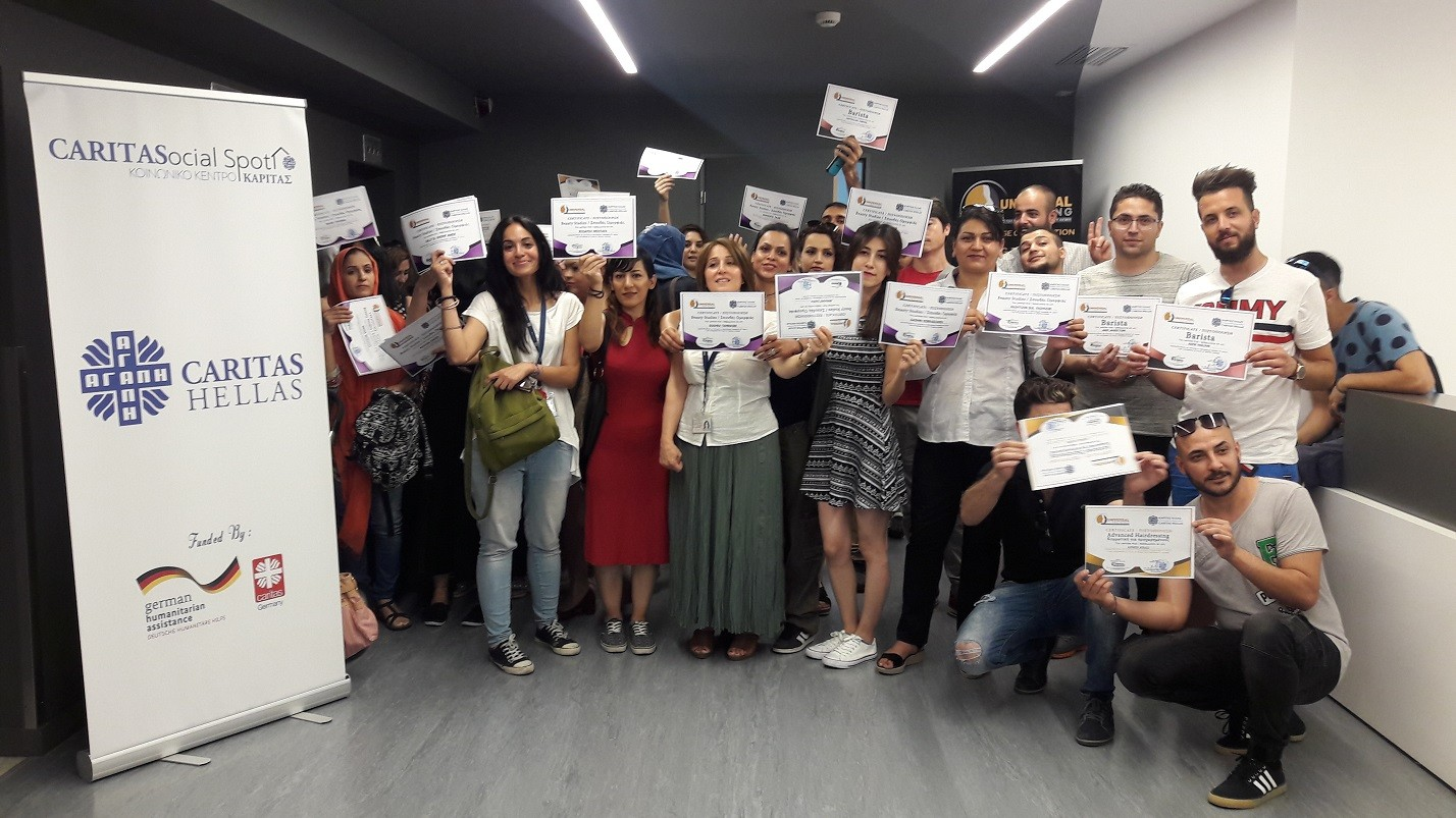 Award ceremony for those who completed the vocational training on Hairdressing, Barista and Beauty Care