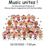 "Caritas Hellas invites you at a joint concert of the choir ""Chorus Nova"" with the group of young refugees  from the Caritas Hellas Social Center of Neos Kosmos"